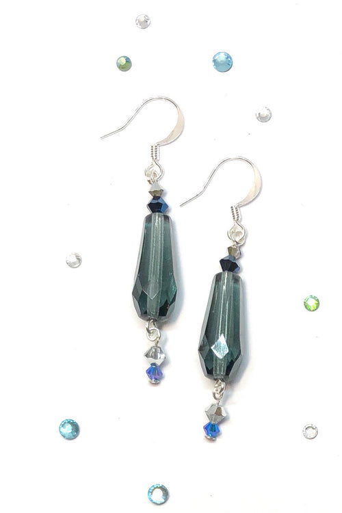 Earrings Rock Droplet Jet Stream Blue Crystal