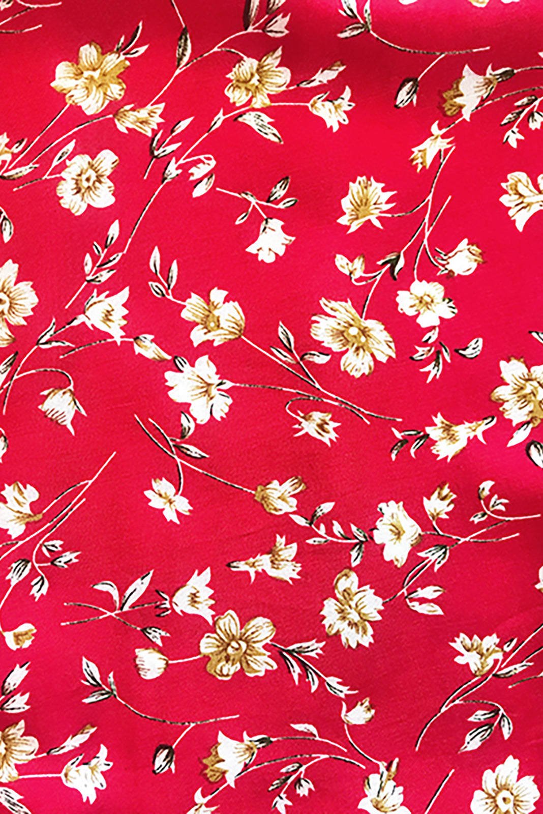 Fabric swatch, 100% woven viscose, bright red base with petite white, gold and black floral print.