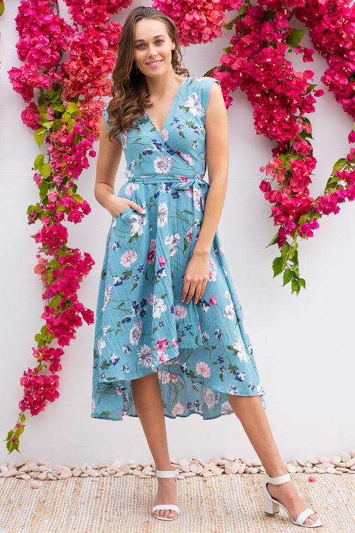 Florence Deep Sea Garden Wrap Dress
