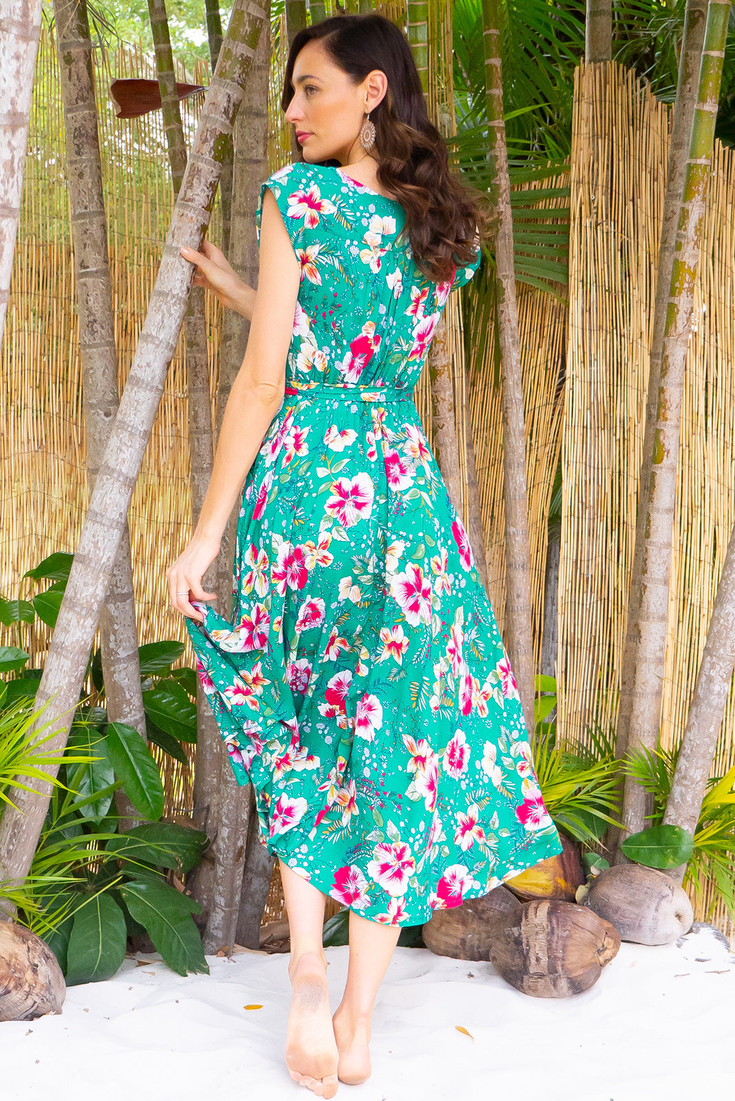 b0478140154 Florence Green Hibiscus Wrap Dress Square featuring a fitted cross over  bust and flirty skirt with