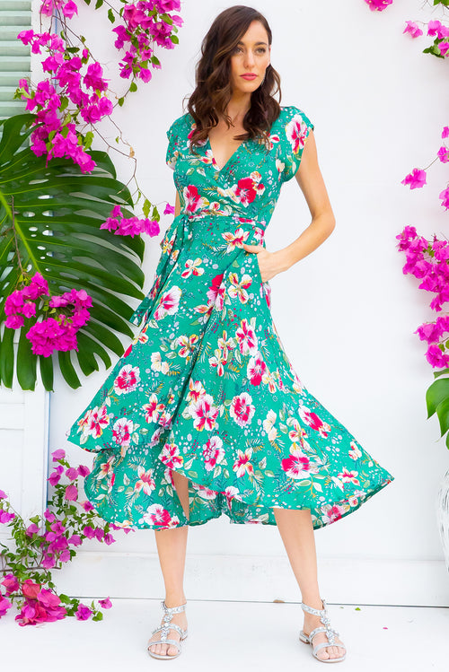 Florence Green Hibiscus Wrap Dress
