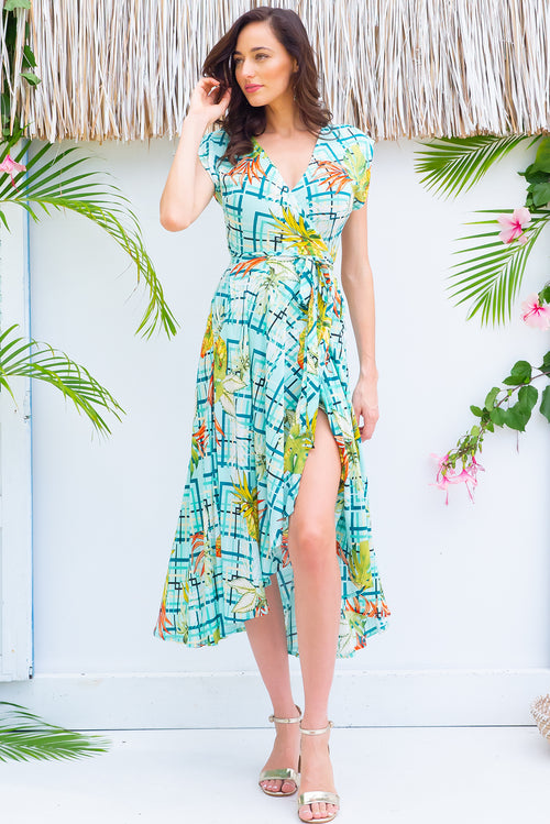 Florence Mint Leaf Wrap Dress