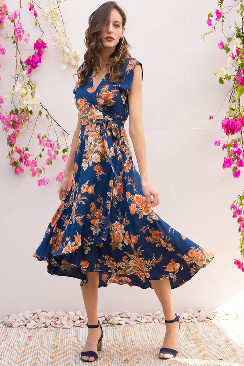 Florence Navy Roses Wrap Dress