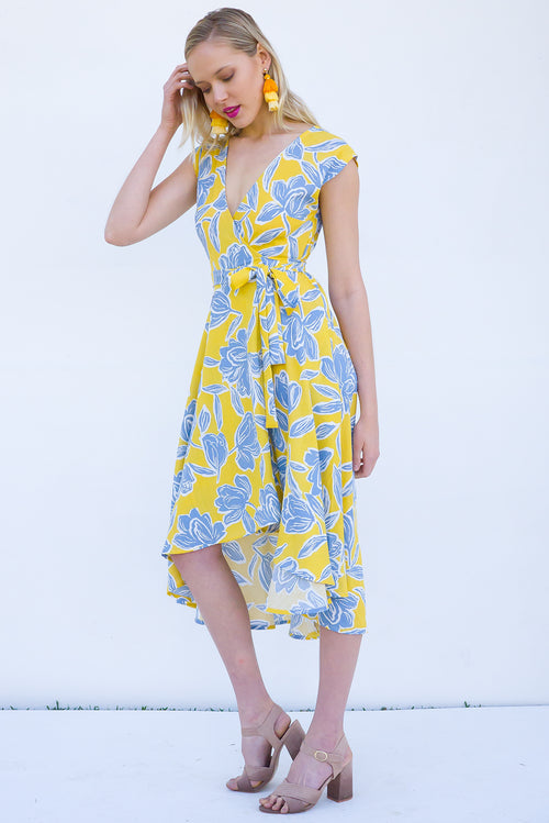 Florist Calla Yellow Wrap Dress