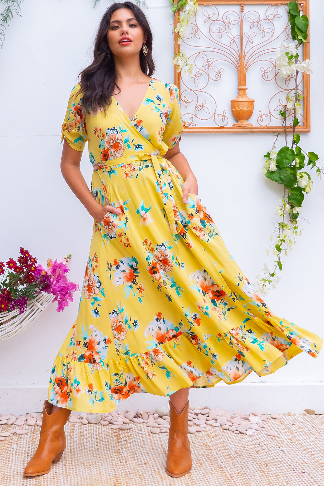 Francoise Autumn Sun Maxi Wrap dress with side split flutter sleeves in a soft butter yellow white romantic flower print