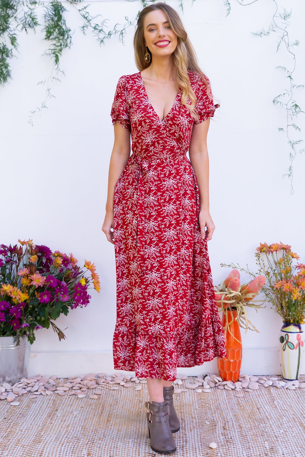 Francoise Red Earth Maxi Wrap Dress