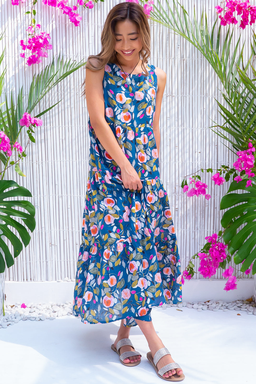Goldie Polka Rose Dress, bohemian summer style, 100% cotton, high scooped neckline, sleeveless, three tiered skirt, side pockets, navy/teal base with fuchsia, peach, gold, mint and khaki rose print.