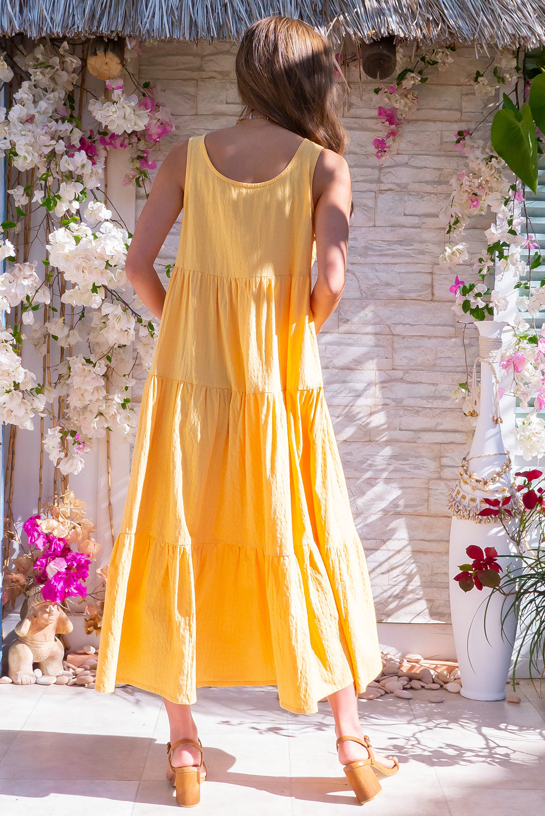 Goldie Sunshine Yellow Midi Dress made from 100% cotton features side pockets, high neck, tiered skirt.