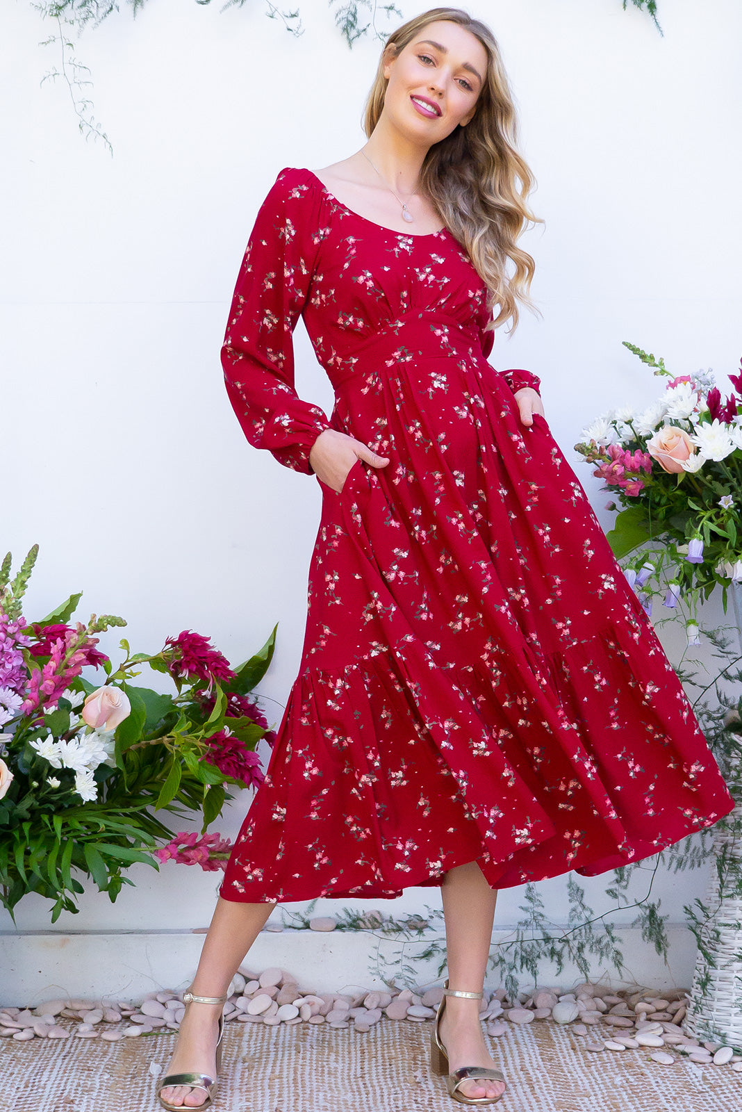 Gwendoline Red Posy Midi Dress features a scooped neck, empire line, long sleeves, side pockets and a deep frill on the hemline. It comes in a gorgeous romantic bohemian posy rose print on woven 100% rayon.
