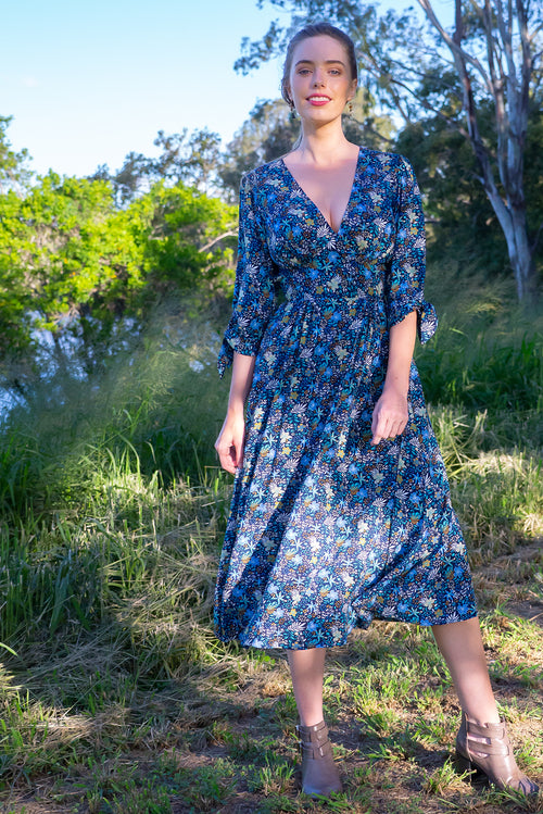 Henrietta Navy Forest Floor Dress