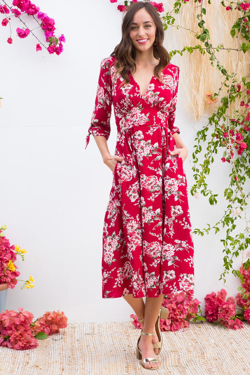 Henrietta Red Flowers Dress