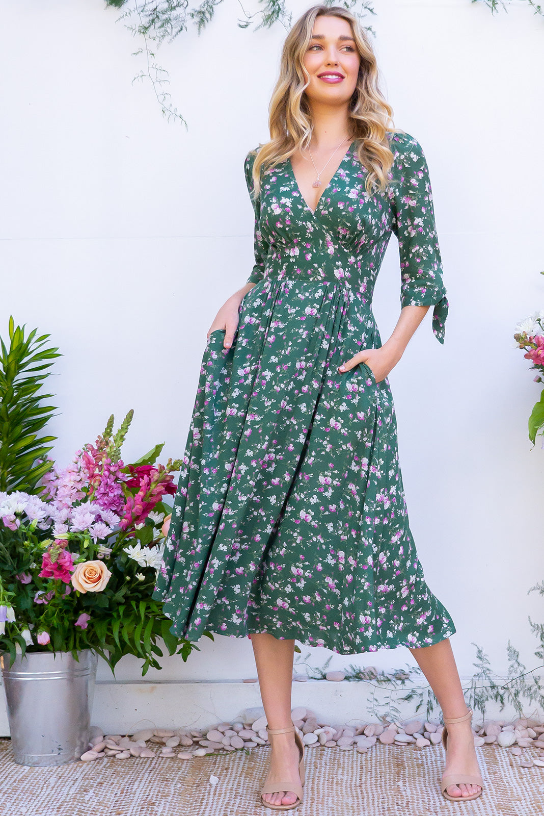 Henrietta Tahalia Green Midi Dress - Women's emerald 100% rayon midi dress with pockets. Soft, ditzy floral print inspired by vintage fashions. Fitted waist and flowing skirt. Retro style. Perfect wardrobe staple. Great for day to day, night out, date night etc. Designed in Brisbane Australia