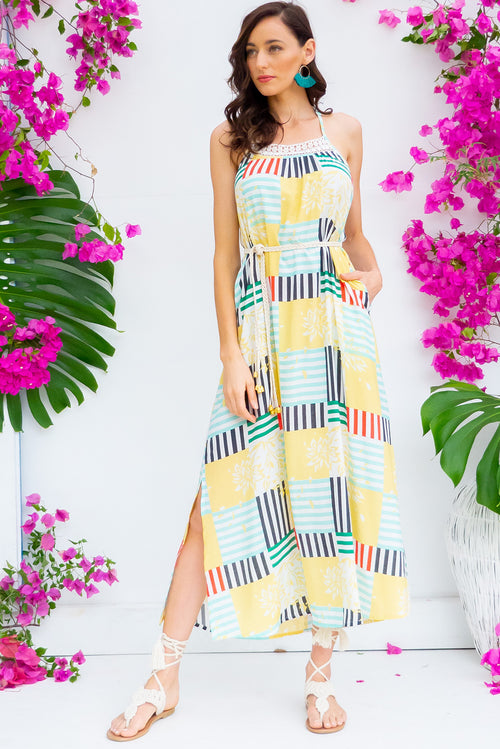 Hibiscus Square Dance Maxi Dress