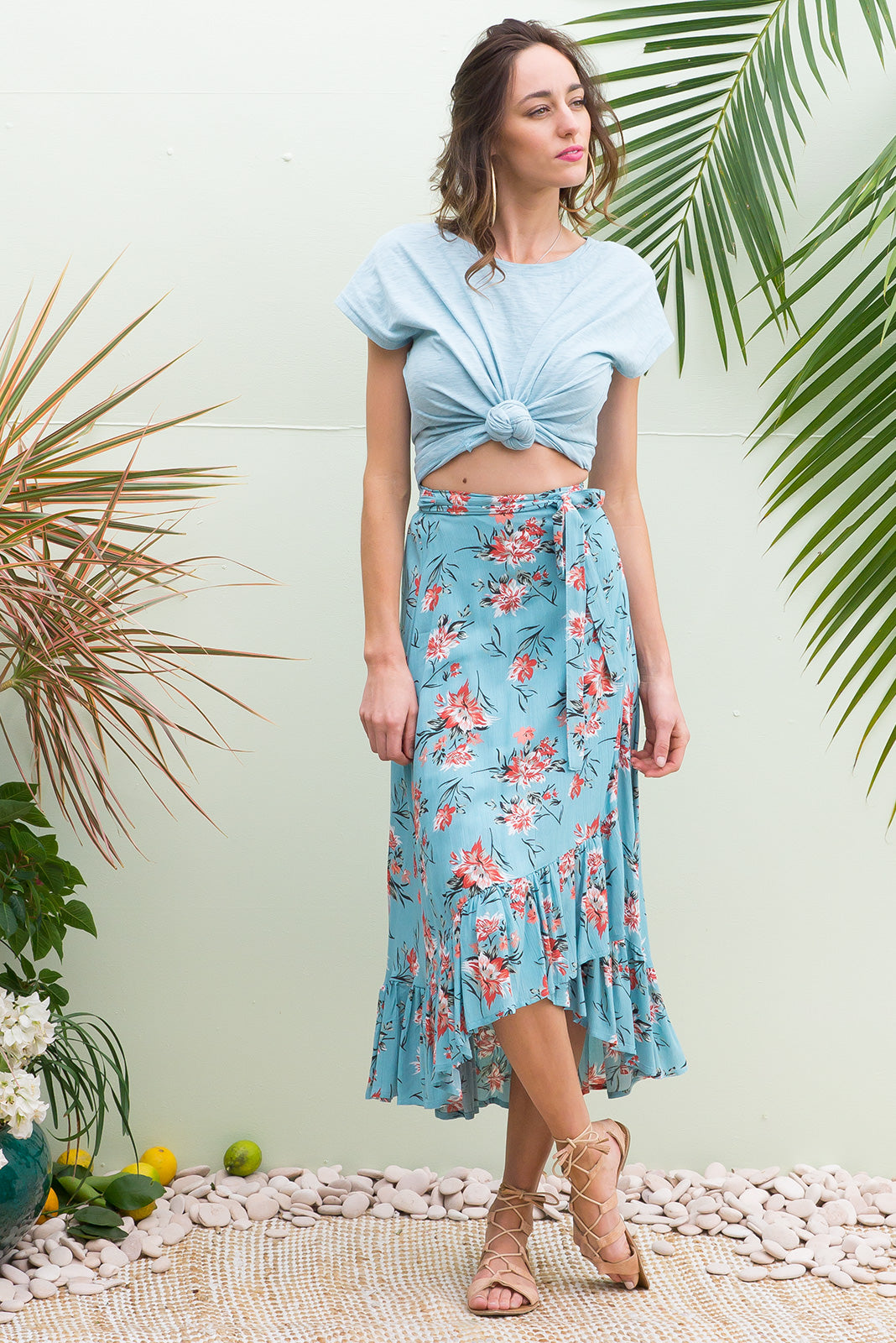 Highlight Osterley Blue Wrap Skirt with a deep frill in a duck egg blue and terracotta floral print on a crinkle texture woven rayon