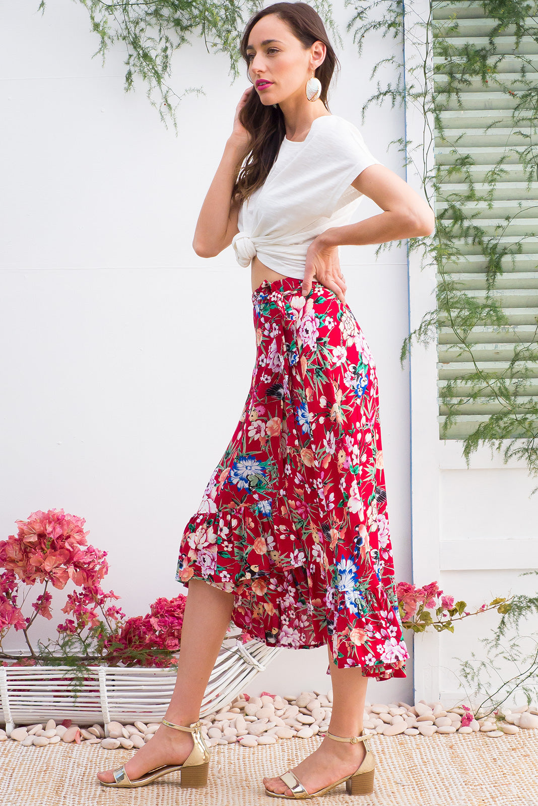 Highlight Bordeaux Red Wrap Skirt, Hi-low Hemline skirt with Frill Detail and vibrant floral print