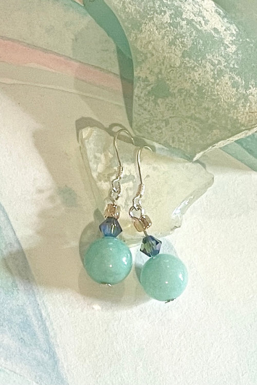 Earrings Rock Bead Aqua