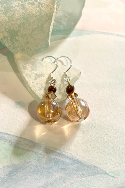 Earrings Rock Bead Golden