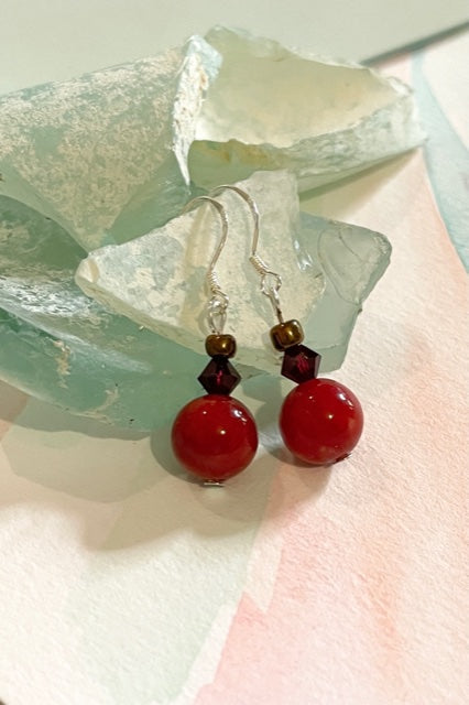 Earrings Rock Bead Red