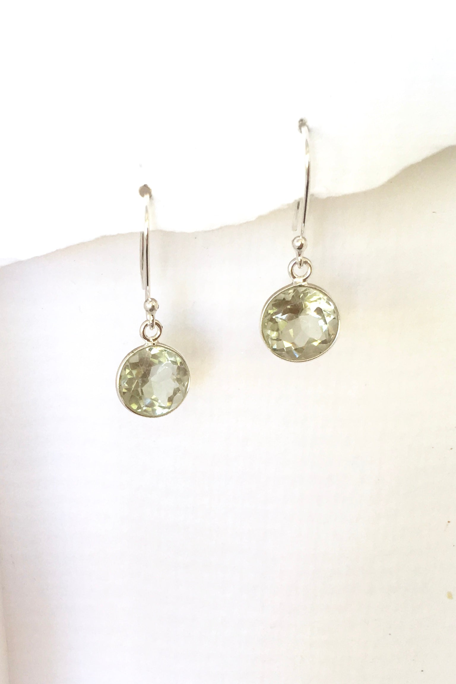 Green Amethyst and sterling silver delicate modern spectacle set earrings. Round cut faceted stone