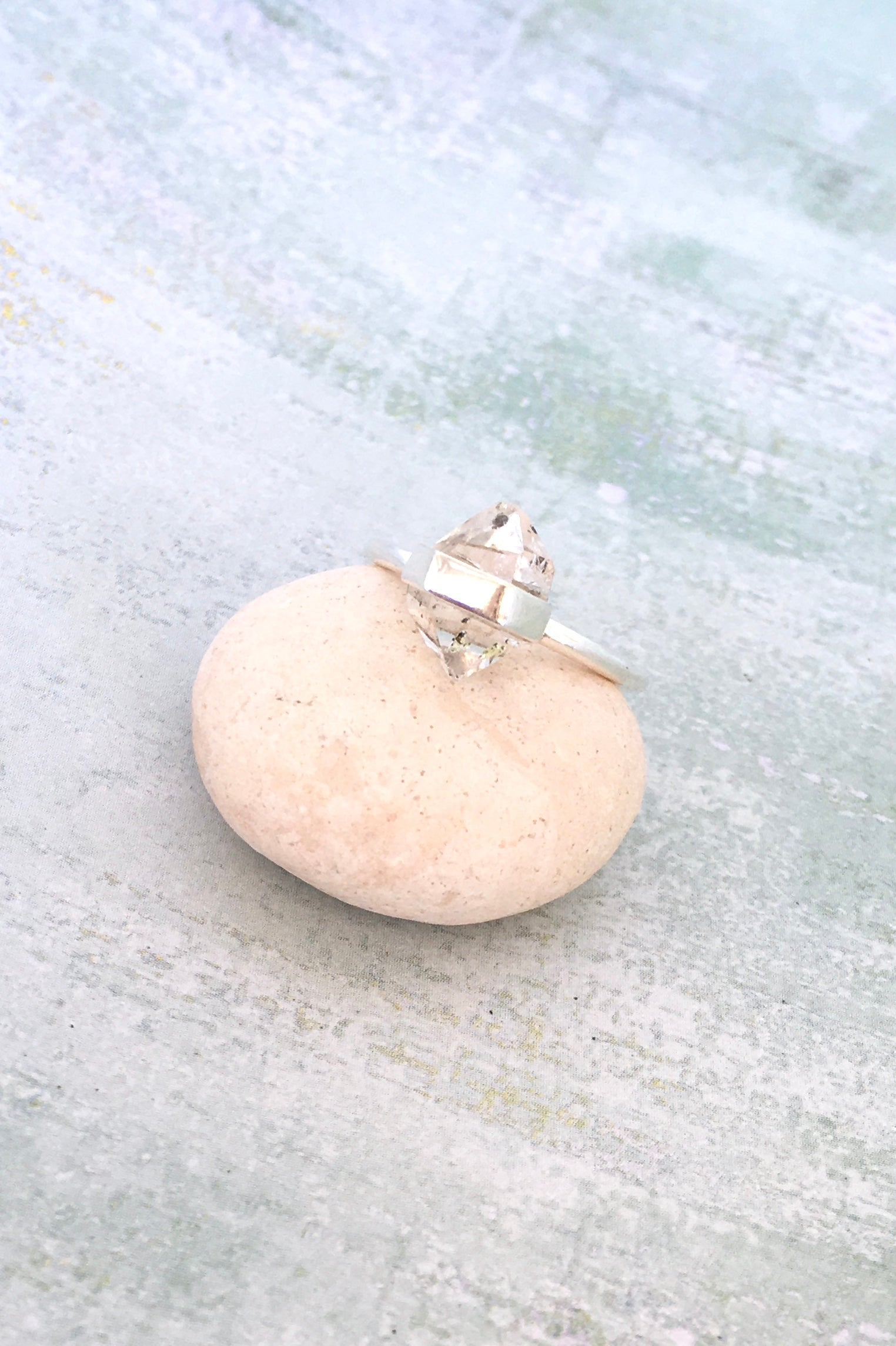 Herkimer diamond and sterling silver modern set ring. Clear your mind with our beautiful range of natural gemstone oracle jewels