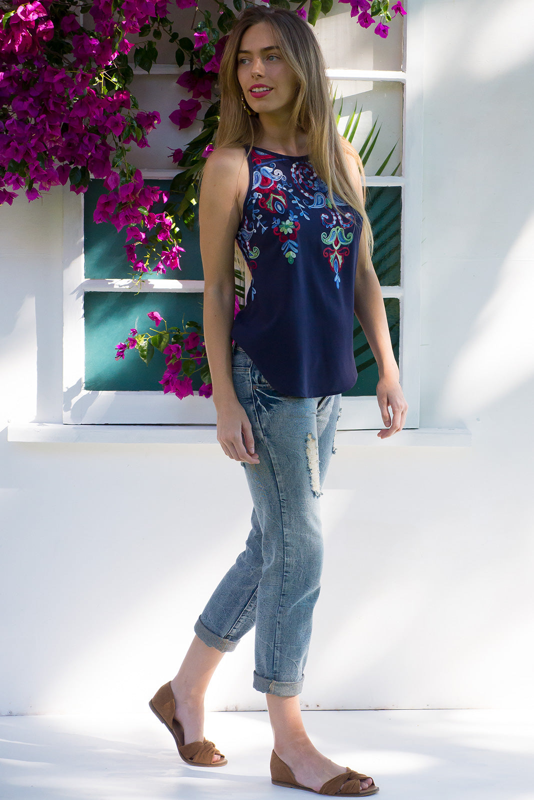 In Love Embroidered Chemise Navy top in soft Navy with bright paisley embroidery around the front and back neckline