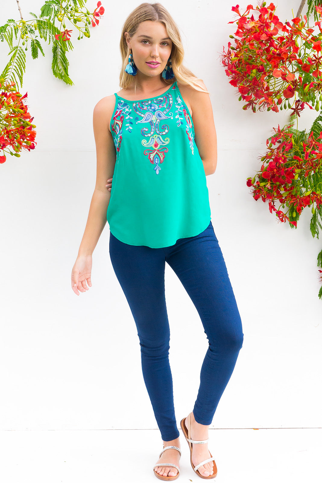 In Love Embroidered Chemise top in emerald green with bright paisley embroidery around the front and back neckline