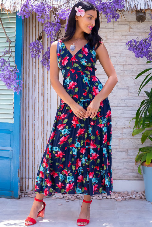 Isla Tropic Hibiscus Ink Maxi Dress