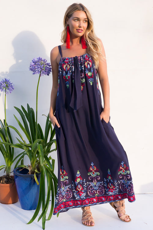 Island Beach Embroidered Navy Maxi Dress