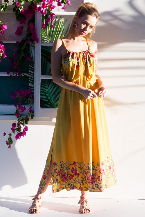 Island Beach Embroidered Gold Maxi Dress