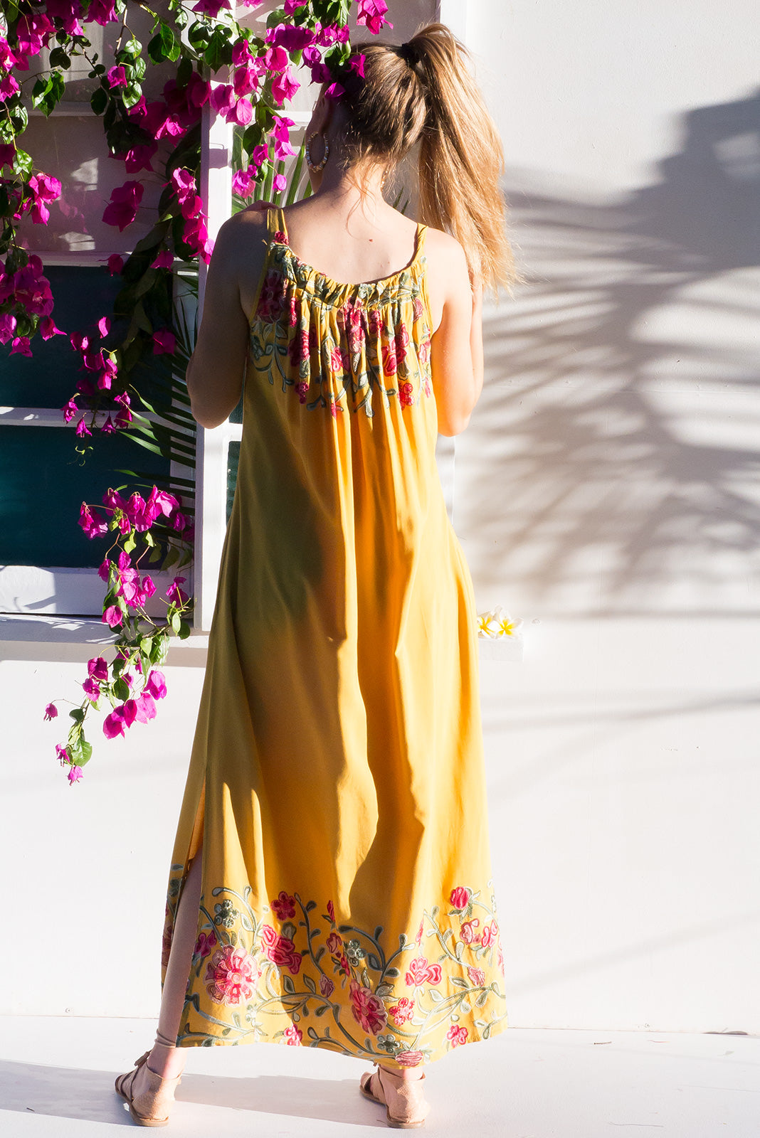 Island Beach Maxi Dress with adjustable tie front neckline in creamy gold  with bohemian inspired embroidery