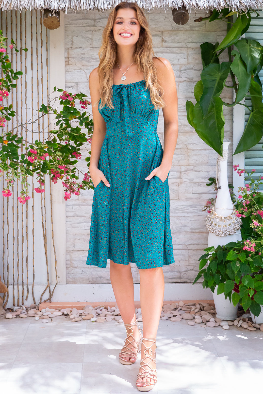 Jay Bay Jade Isle Mini Dress strappy deep green toned summer frock with adjustable neckline and side pockets, made from 100% viscose.
