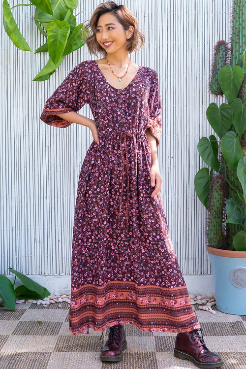 Jaye Chocolate Cottage Maxi Dress