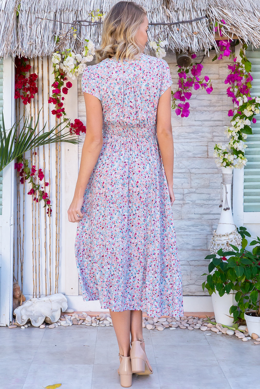Jude Tea Party Dress is a beautiful rayon dress with pale warm grey base with red, mint and brown vintage miniature flowers and features softly fitted basque waist, V-neck design, functional button down to the hem, deep side pockets.