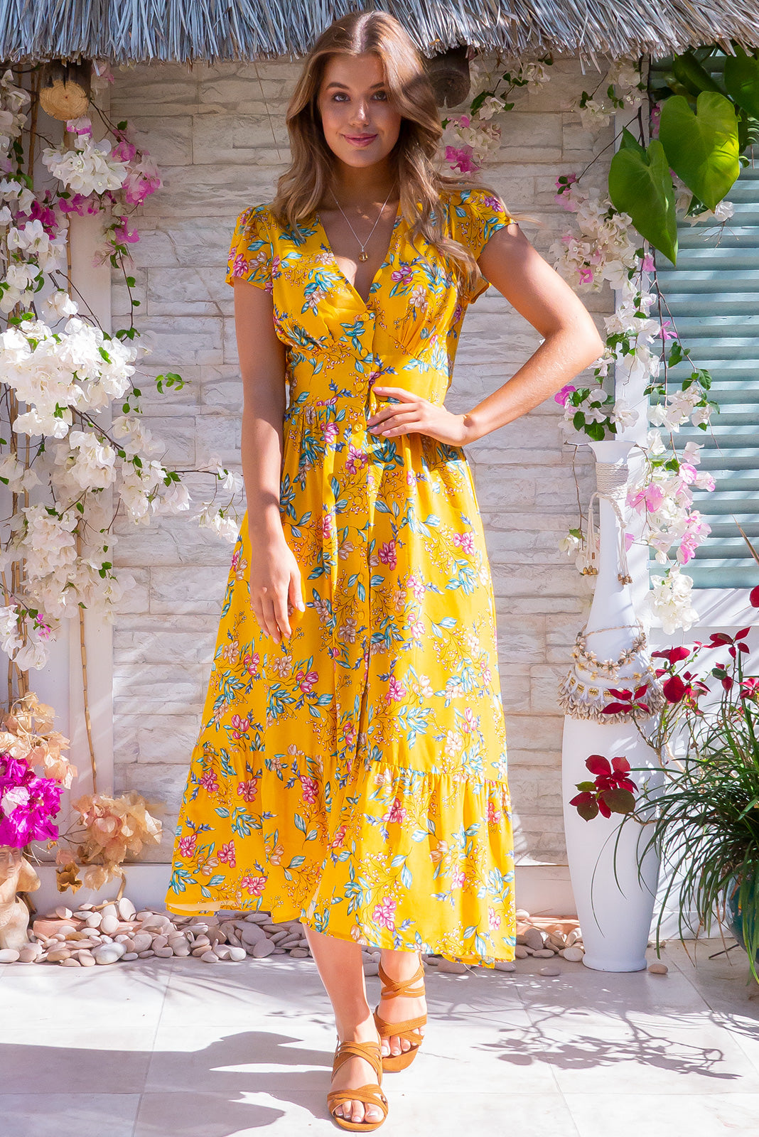 Jude Honey Gold Dress - Summer vintage inspired yellow 100% viscose dress, featuring functional button front, side pockets and basque waist.