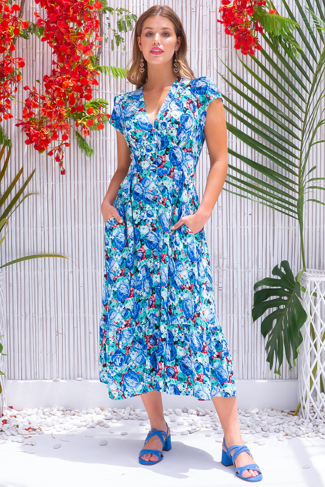 Jude Sunday Best Blue Midi Dress retro vintage inspired green/blue floral print viscose fabric with button front, cap sleeves and side pockets.