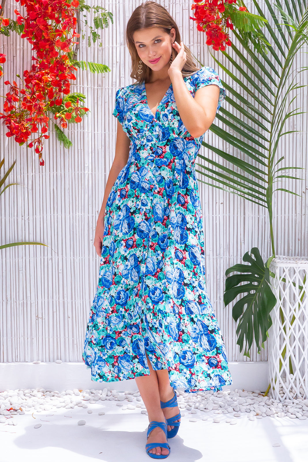 Jude Sunday Best Blue Midi Dress retro vintage inspired green/blue floral print rayon fabric with button front, cap sleeves and side pockets.