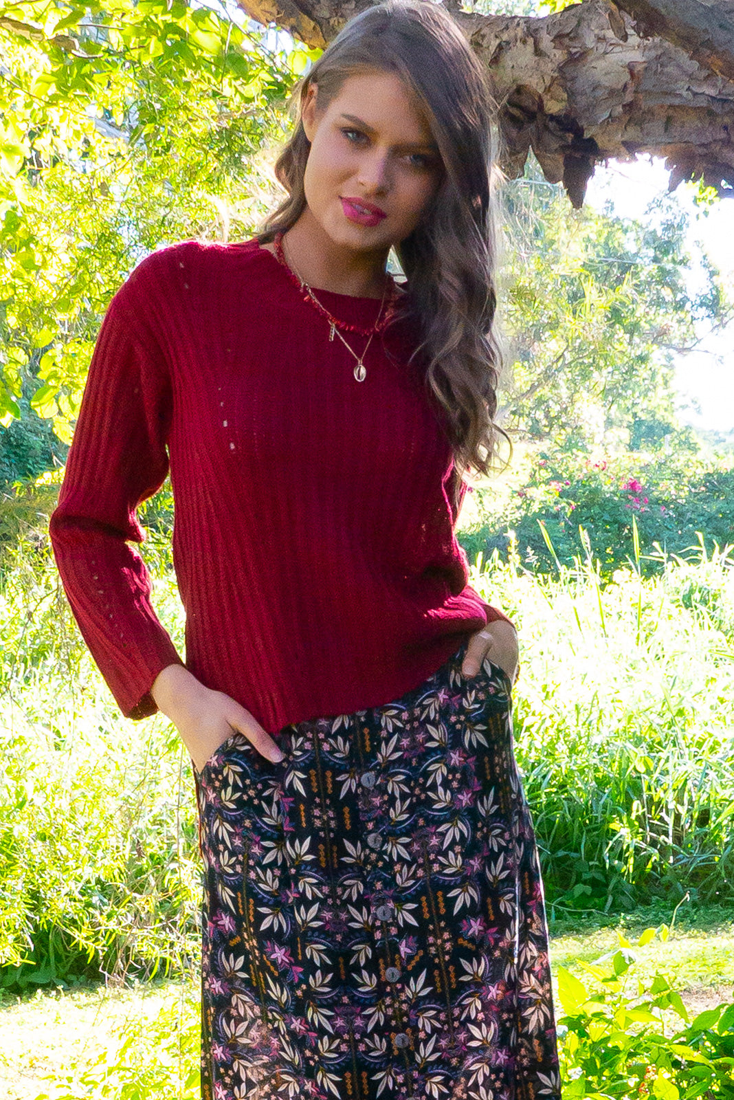 Jumper Caro Cherry Red made from Acrylic and nylon. Pointelle feature. Warm, snug, comfortable and soft. Relaxed fit bohemian winter jumper.