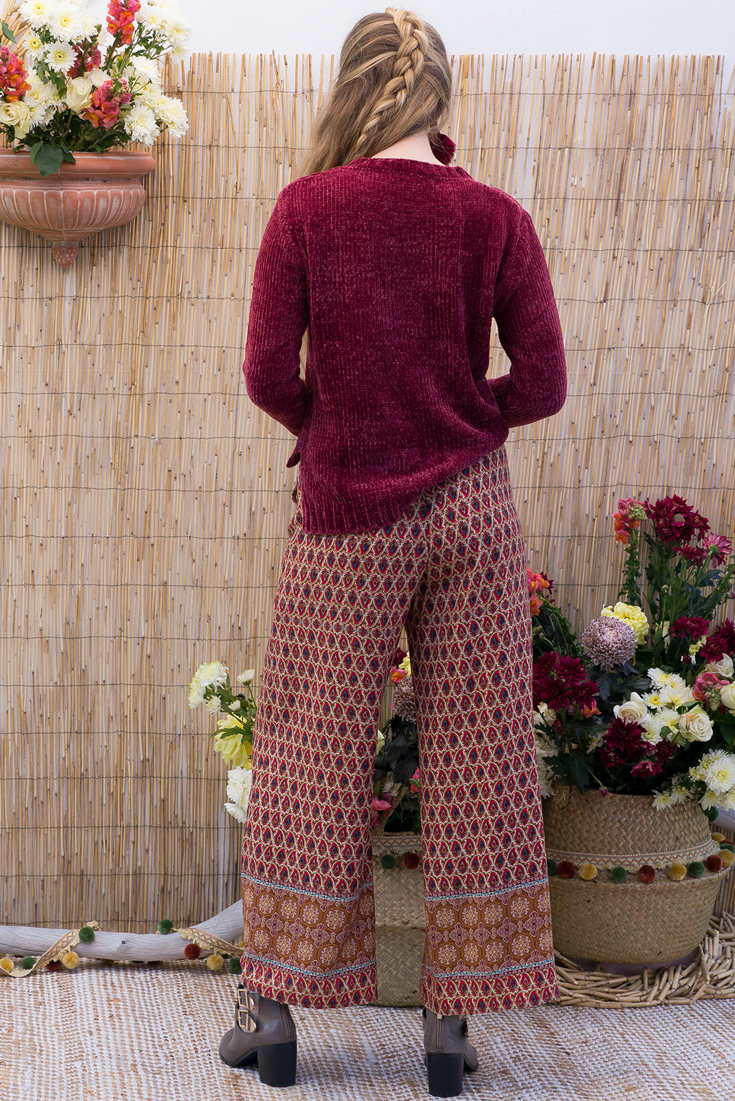 Jumper Love Shack in brick red with a velvet feel open weave cropped jumper for boho inspired winter outfits