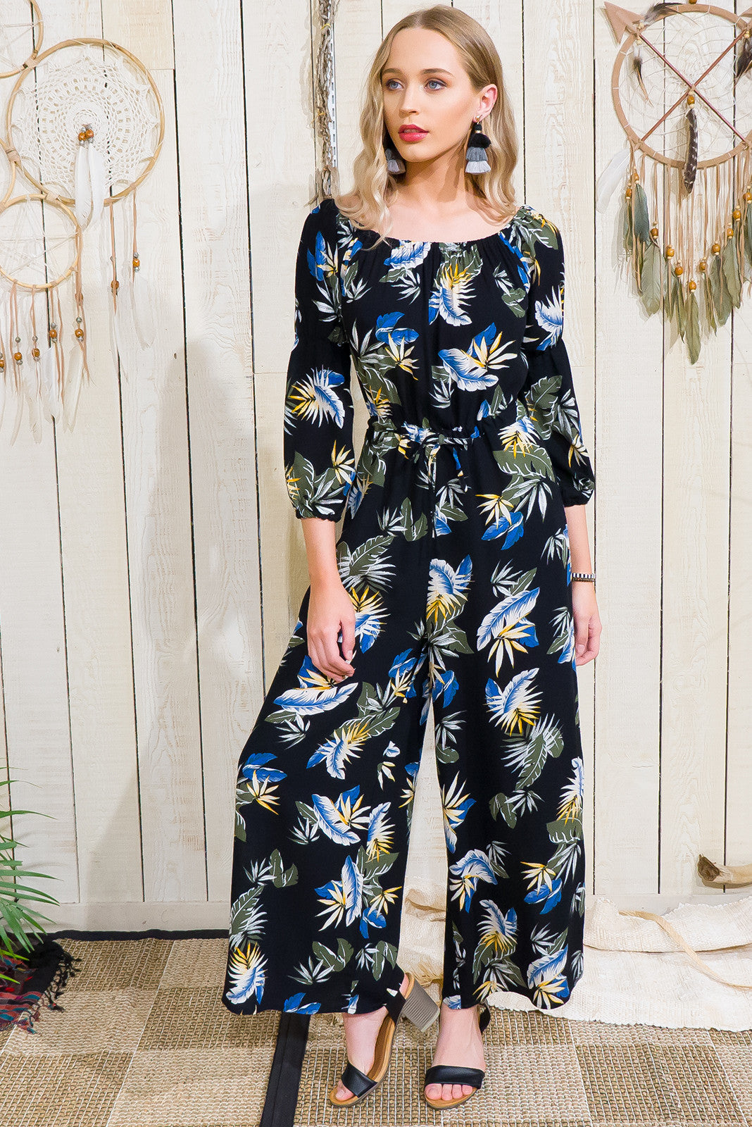 Jumpsuit Jasmine full length Black tropical print