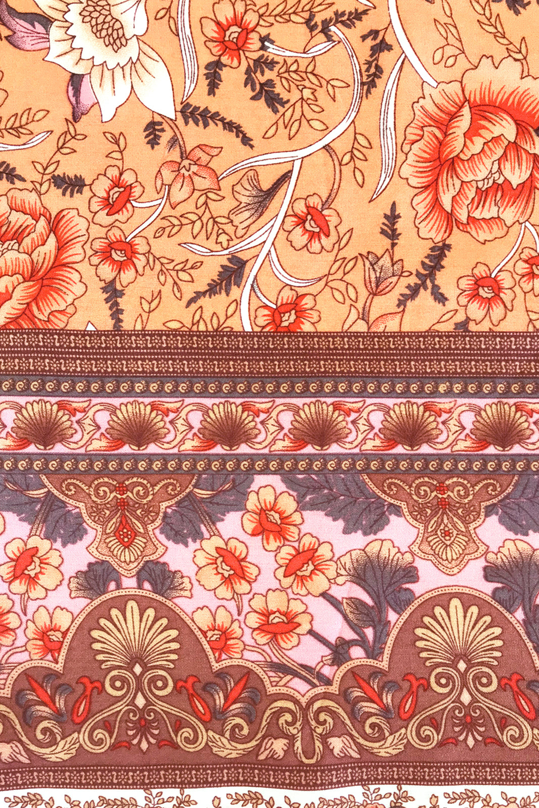 Fabric Swatch of Juniper Daybreak Orange Dress featuring 100% viscose in light orange base with a bohemian floral print and border feature.
