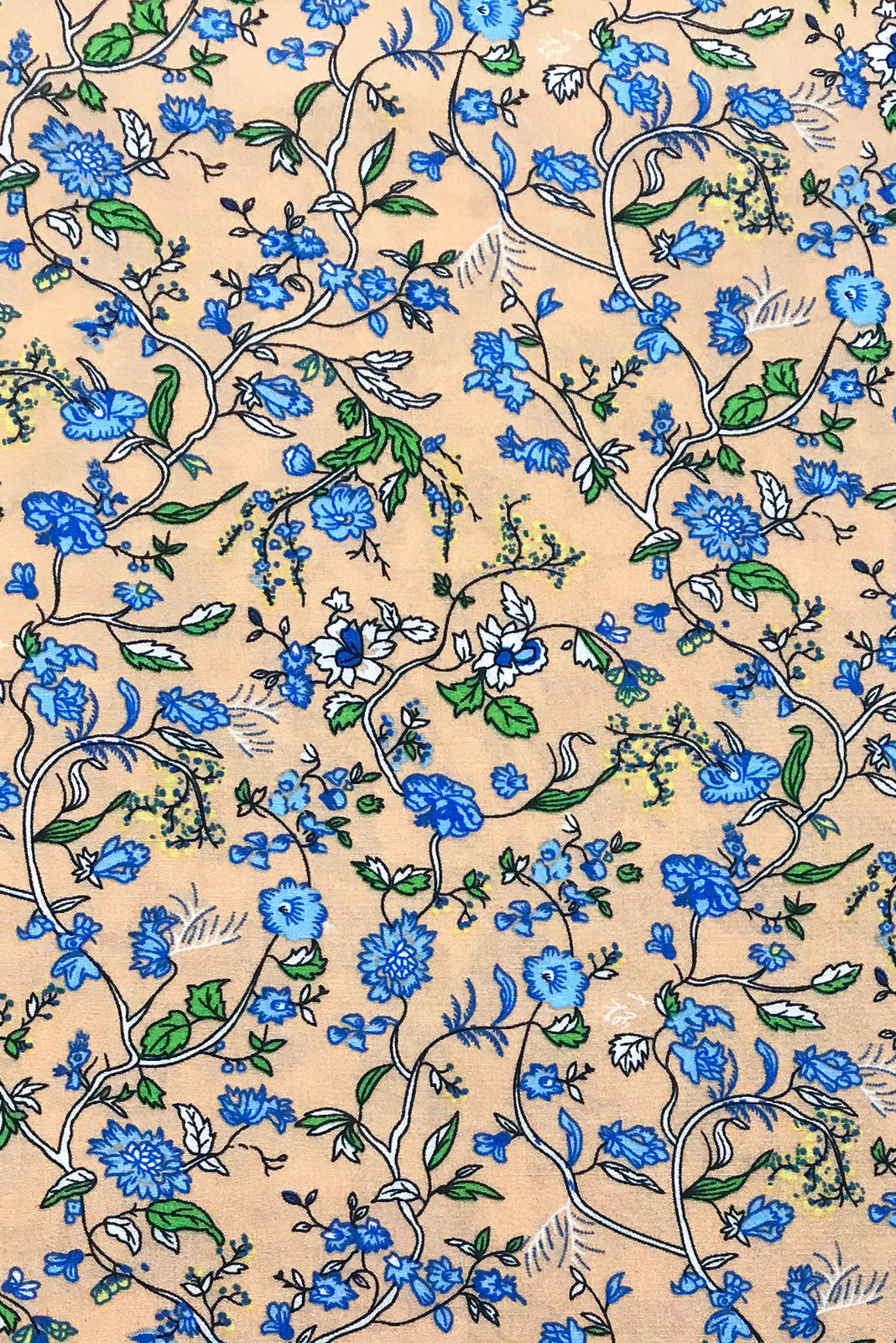 Fabric Swatch of Juniper Ecru Haze Maxi Dress features woven 100% rayon in warm Ecru base with a blue floral vine print.