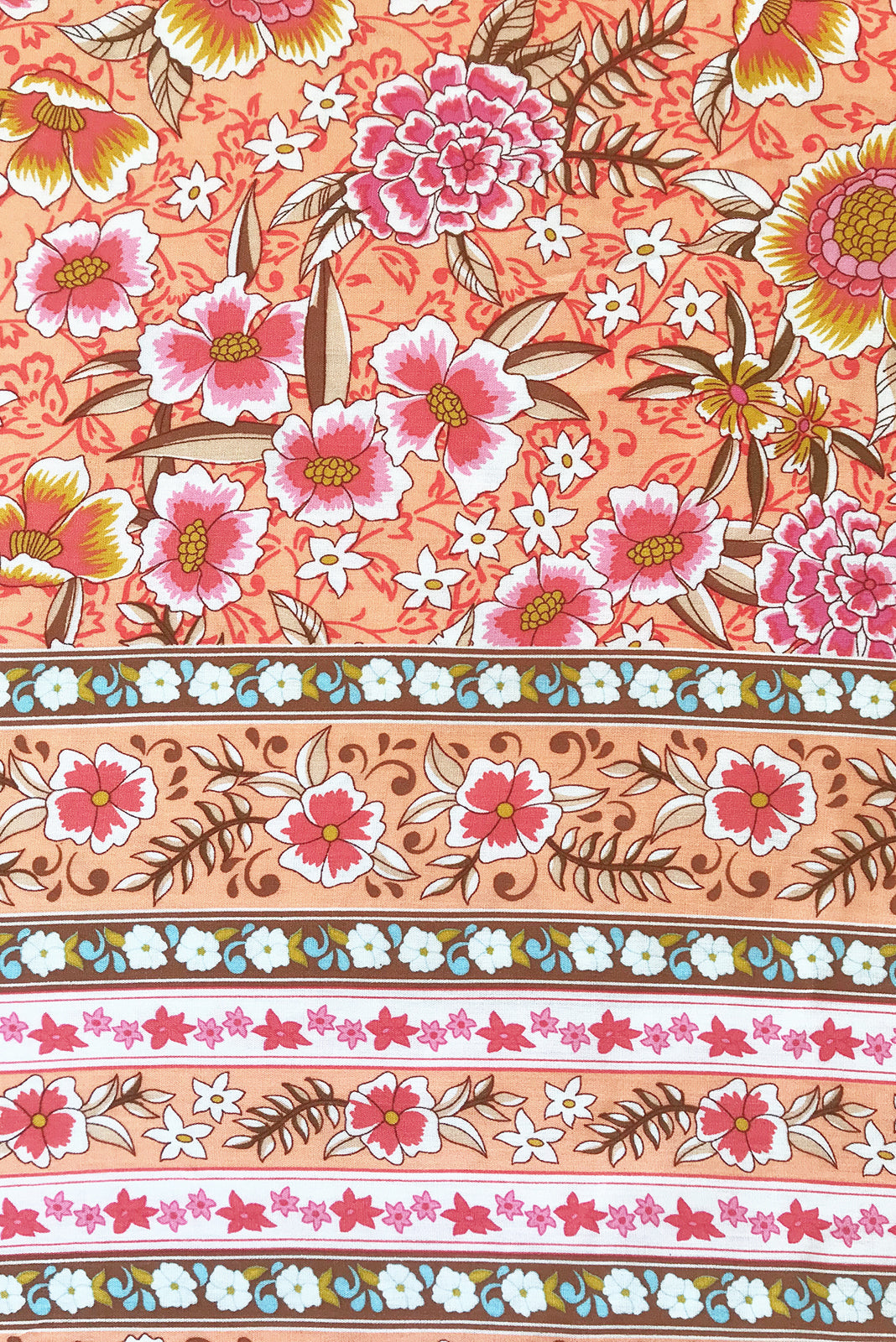 Fabric Swatch pf Juniper Peach Sandrine Maxi Dress featuring 100% viscose in pale orange base with vintage floral print.