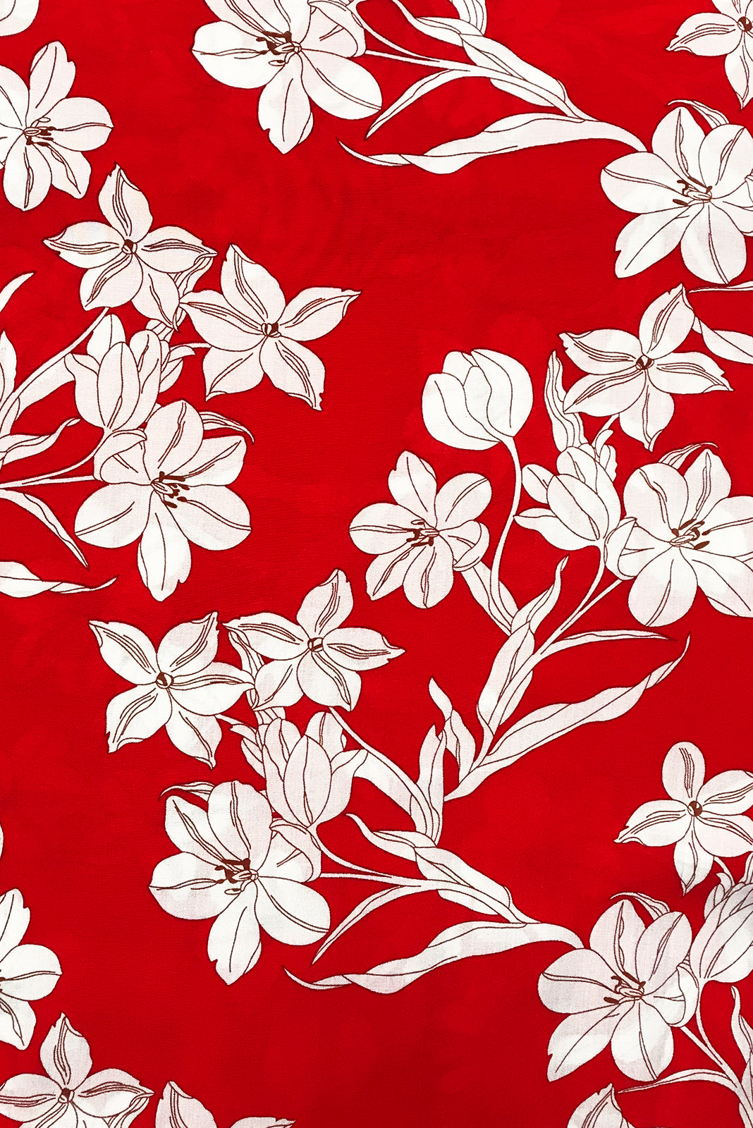 Fabric Swatch of the Juniper Red Shadow Maxi Dress features 100% rayon in red base with crisp cream floral print.