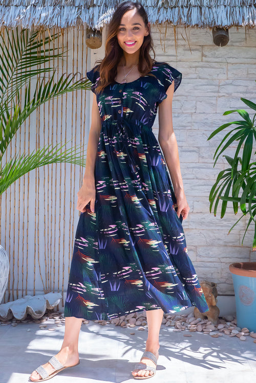 Juniper Tiki Sunset Navy Maxi Dress
