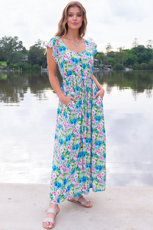 Juniper Vintage Blues Maxi Dress