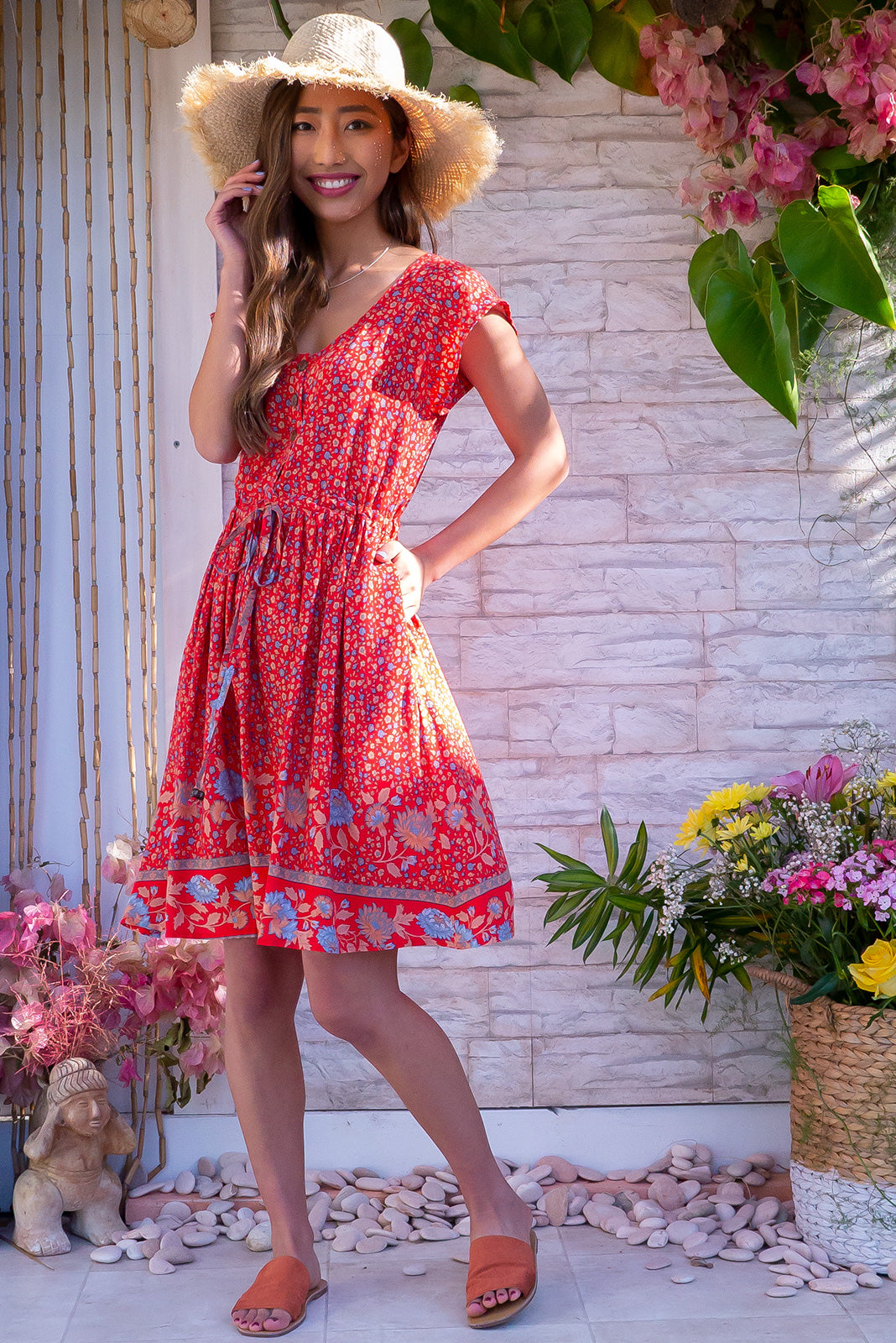 Juniper Folklore Red Dress - Short dress in a lovely red base, vintage print on rayon fabric. Includes drawstring waist, side pockets, functional button down front to waist, cap sleeves.