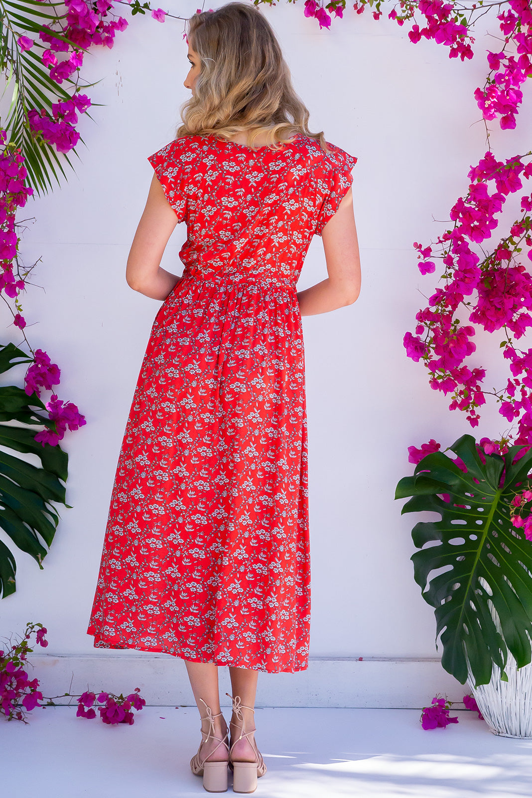 Juniper Maxi Summer Red Dress in red bohemian vintage floral rayon fabric. Includes pockets, drawstring waist, cap sleeve, functional top buttons.
