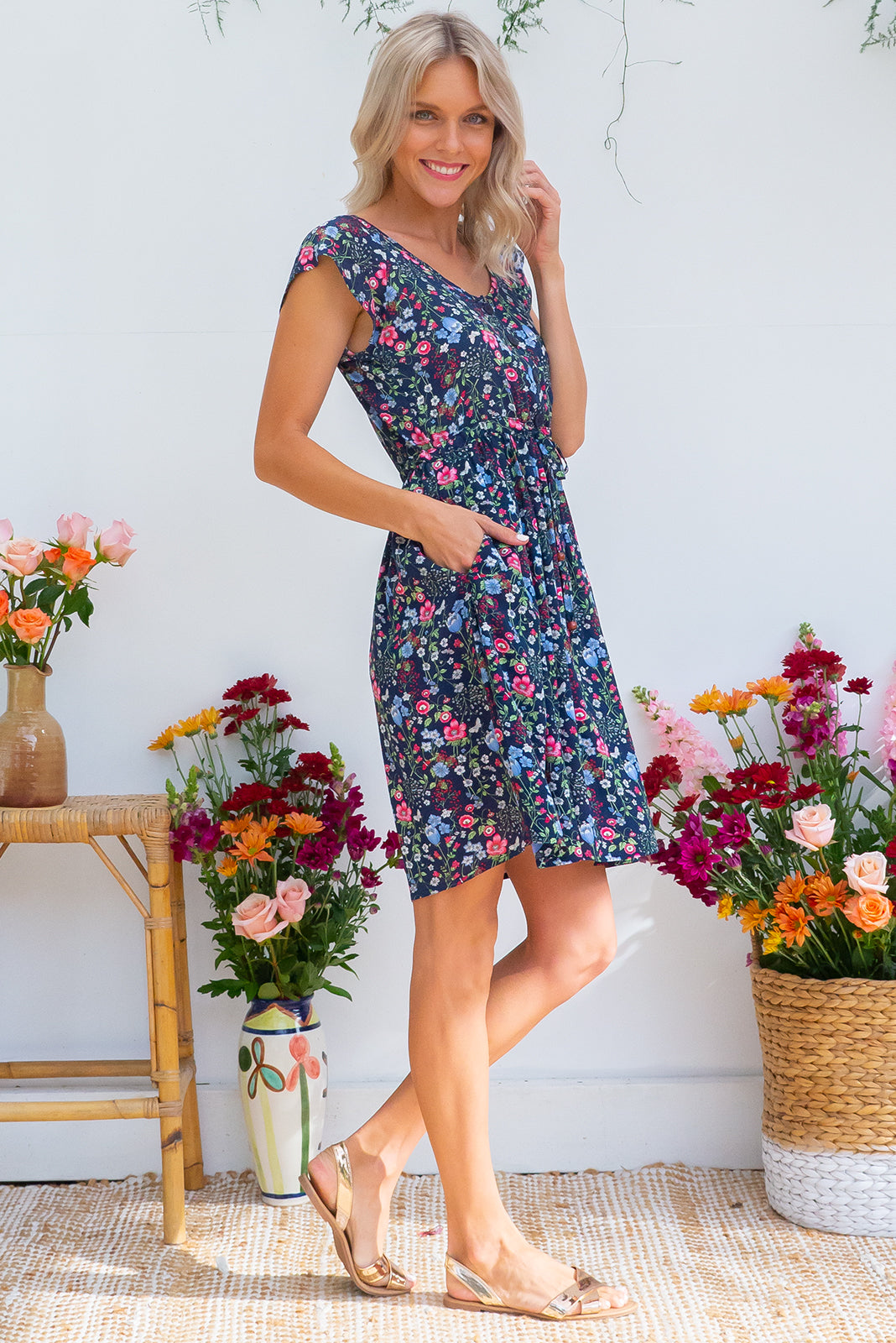 Juniper Wildflower Navy Dress, on the knee dress with drawstring waist, and pretty navy based flora lprint, plus sizes available