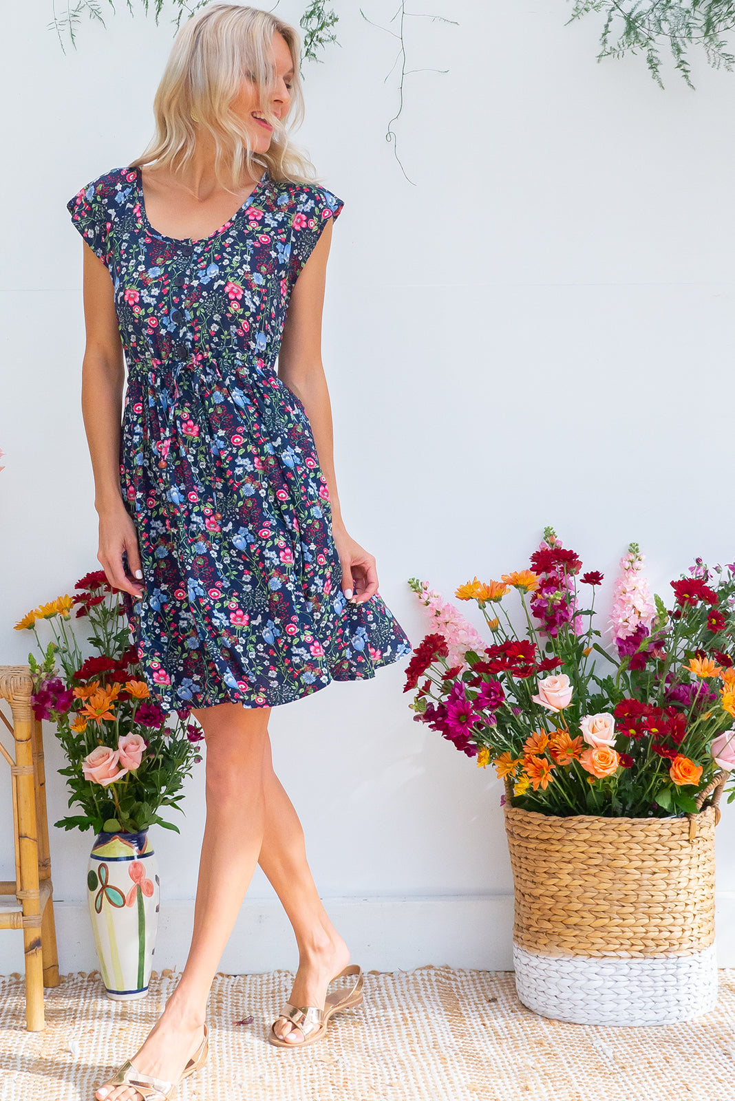 Juniper Wildflower Navy Dress, on the knee dress with drawstring waist, and pretty navy based floral print, plus sizes available