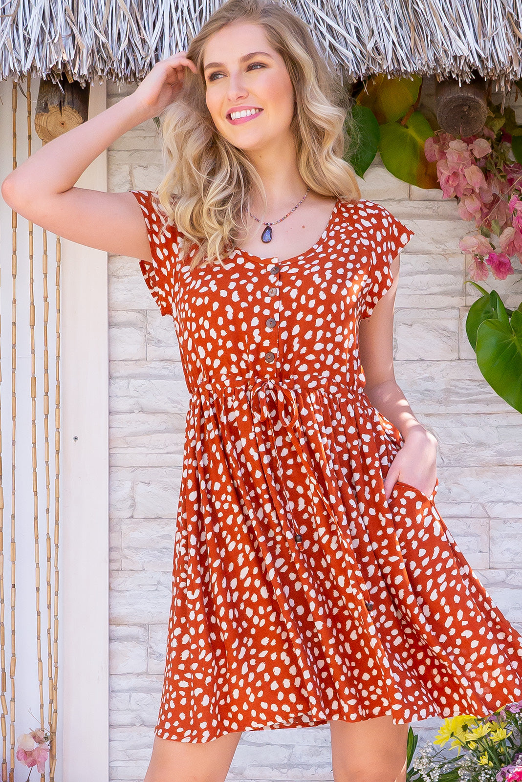 Juniper Rust Animale Dress - Short, breezy, caramel coloured summer dress. Functional button front to waist, drawstring waist, pockets and made in 100% rayon.